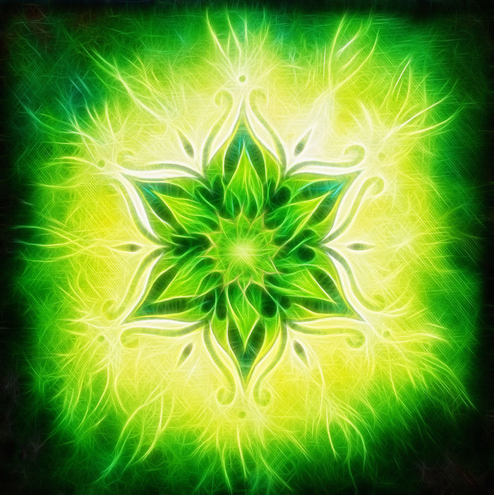 36659215 - flower mandala on a green background fractal color effect